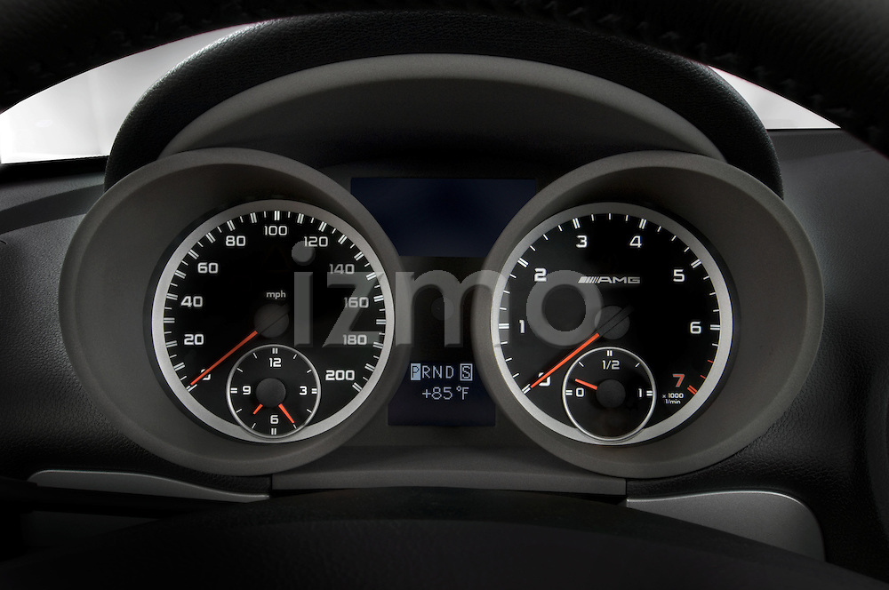 Instrument panel close up view on a Mercedes Benz SLK Class sports car