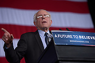 "Charlotte, NC - March 14, 2016: 2016 Democrat presidential candidate Bernie Sanders speaks to supporters during a campaign event at the PNC Music Pavilion in Charlotte, North Carolina, March 14, 2016, one day before 'Super Tuesday"" voting.  (Photo by Don Baxter/Media Images International)"