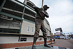 A statue of a baseball player is seen outside Wrigley Field, a Chicago landmark, in Chicago, Illinois on March 23, 2009.