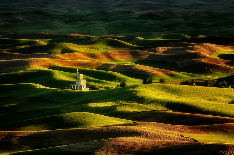 Farmland in spring with grain silo. The Palouse Washington