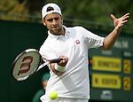 Tennis All England Championships Wimbledon Nicolas Kiefer (GER) spielt eine Vorhand.