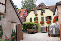 winery with press in the court yard domaine remy gresser andlau alsace france