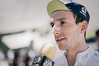 Simon Yates (GBR/Orica-Scott) interviewed before the start<br /> <br /> 104th Tour de France 2017<br /> Stage 14 - Blagnac › Rodez (181km)