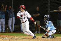 Ball State Cardinals second baseman Ryan Spaulding (5) at bat in front of catcher Jonathan Salcedo (99) during a game against the Maine Black Bears on March 3, 2015 at North Charlotte Regional Park in Port Charlotte, Florida.  Ball State defeated Maine 8-7.  (Mike Janes/Four Seam Images)