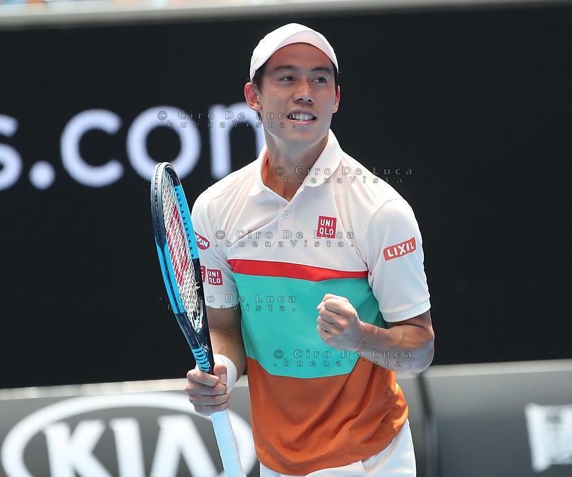 17th January 2019, Melbourne Park, Melbourne, Australia; Australian Open Tennis, day 4; Kei Nishiroki of Japan celebrates after wins the match against Ivo Karlovic of Croatia