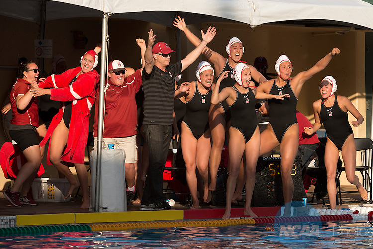 10 MAY 2015:  Stanford University celebrates after defeating UCLA during the Division I Women's Water Polo Championship held at the Avery Aquatic Center on the Stanford University campus in Stanford, CA.  Stanford defeated UCLA 7-6 for the national title.  Jamie Schwaberow/NCAA Photos