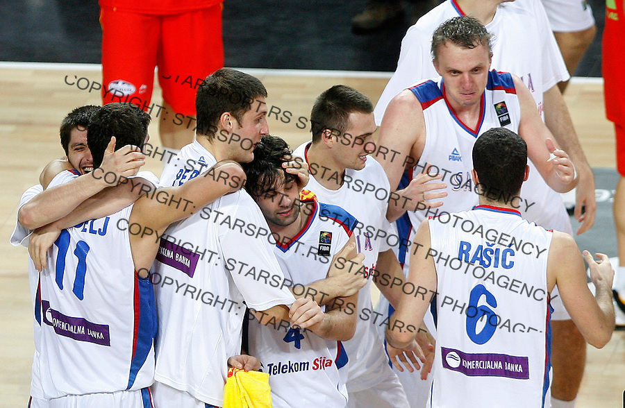 Serbia players celebrates victory during the quarter final World championship basketball match against Spain in Istanbul, Serbia-Spain, Turkey on Wednesday, Sep. 08, 2010.(Novak Djurovic/Starsportphoto.com)