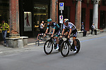 Bora-Hansgrohe riders head out for a practice run before Stage 1 of the 2019 Giro d'Italia, an individual time trial running 8km from Bologna to the Sanctuary of San Luca, Bologna, Italy. 11th May 2019.<br /> Picture: Eoin Clarke | Cyclefile<br /> <br /> All photos usage must carry mandatory copyright credit (© Cyclefile | Eoin Clarke)