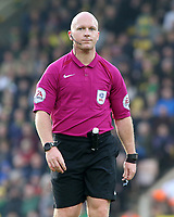 Referee Simon Hooper during the match<br /> <br /> Photographer David Shipman/CameraSport<br /> <br /> The EFL Sky Bet Championship - Norwich City v Blackburn Rovers - Saturday 11th March 2017 - Carrow Road - Norwich<br /> <br /> World Copyright &copy; 2017 CameraSport. All rights reserved. 43 Linden Ave. Countesthorpe. Leicester. England. LE8 5PG - Tel: +44 (0) 116 277 4147 - admin@camerasport.com - www.camerasport.com