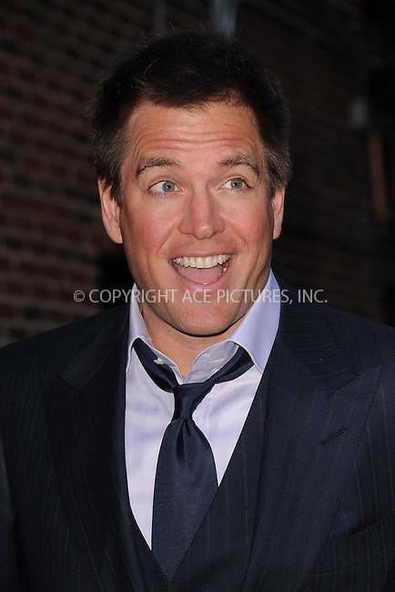 WWW.ACEPIXS.COM . . . . . February 13, 2012...New York City...Michael Weatherly tapes an appearance on  the Late Show with David Letterman on February 13, 2012 in New York City....Please byline: KRISTIN CALLAHAN - ACEPIXS.COM.. . . . . . ..Ace Pictures, Inc: ..tel: (212) 243 8787 or (646) 769 0430..e-mail: info@acepixs.com..web: http://www.acepixs.com .