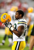 Aug. 28, 2009; Glendale, AZ, USA; Green Bay Packers running back (23) Tyrell Sutton against the Arizona Cardinals during a preseason game at University of Phoenix Stadium. Mandatory Credit: Mark J. Rebilas-