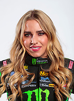 Feb 5, 2020; Pomona, CA, USA; NHRA top fuel driver Brittany Force poses for a portrait during NHRA Media Day at the Pomona Fairplex. Mandatory Credit: Mark J. Rebilas-USA TODAY Sports