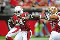 Sept. 13, 2009; Glendale, AZ, USA; Arizona Cardinals running back (34) Tim Hightower runs the ball in the first quarter against the San Francisco 49ers at University of Phoenix Stadium. Mandatory Credit: Mark J. Rebilas-