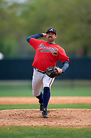 Atlanta Braves pitcher Kanekoa Texeira (75) during an intrasquad Spring Training game on March 25, 2016 at ESPN Wide World of Sports Complex in Orlando, Florida.  (Mike Janes/Four Seam Images)