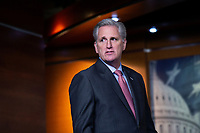United States Representative Kevin McCarthy (Republican of California) arrives to a news conference at the United States Capitol in Washington D.C., U.S., on Wednesday, March 25, 2020.  McCarthy stated that he does not believe the Coronavirus Stimulus Package would pass the United States House of Representatives by unanimous consent, calling for a voice vote and debate when the bill is sent over. Credit: Stefani Reynolds / CNP/AdMedia