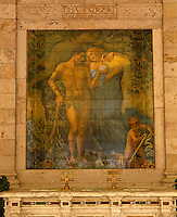 On the wall of the Gallaria delle Bibite a tiled mural illustrates the benefits of the thermal water on developing strength