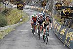 Steven Kruijswijk (NED) Team Lotto NL-Jumbo, Wilco Kelderman (NED) Team Sunweb, Vincenzo Nibali (ITA) Bahrain-Merida, Michael Woods (CAN) Cannondale Drapac and Ilnur Zakarin (RUS) Katusha Alpecin on the brutal climb of Los Machucos during Stage 17 of the 2017 La Vuelta, running 180.5km from Villadiego to Los Machucos. Monumento Vaca Pasiega, Spain. 6th September 2017.<br /> Picture: Unipublic/&copy;photogomezsport   Cyclefile<br /> <br /> <br /> All photos usage must carry mandatory copyright credit (&copy; Cyclefile   Unipublic/&copy;photogomezsport)