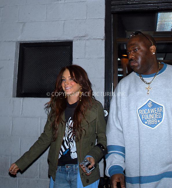 New York, December 3, 2004: Lindsay Lohan leaving S.I.R Studios on West 25th Street. Please byline: Boldeskul/Bocklet/ACE PICTURES... *** ***  ..Ace Pictures, Inc:  ..Alecsey Boldeskul (646) 267-6913 ..Philip Vaughan (646) 769-0430..e-mail: info@acepixs.com..web: http://www.acepixs.com