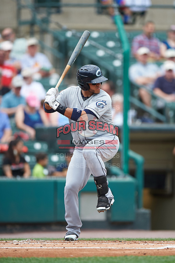 Columbus Clippers catcher Guillermo Quiroz (29) at bat during a game against the Rochester Red Wings on June 16, 2016 at Frontier Field in Rochester, New York.  Rochester defeated Columbus 6-2.  (Mike Janes/Four Seam Images)