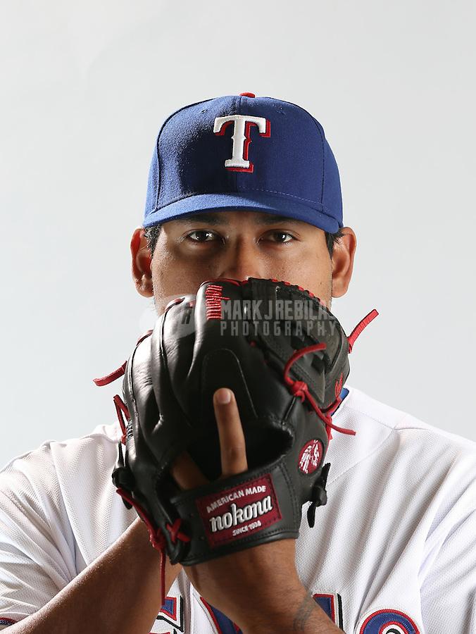 Feb. 20, 2013; Surprise, AZ, USA: Texas Rangers pitcher Wilmer Font poses for a portrait during photo day at Surprise Stadium. Mandatory Credit: Mark J. Rebilas-