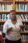 Bukky Shaba, a graduate student in Communication and Development, speaks at the Women in Graduate School Coffee Hour in the Women's Center on Tuesday, September 6, 2016.