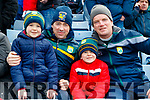 Erin, Clara and Michael Riordan (Milltown) with Paul and Cormac Kelly, (Tarbert), supporting Kerry at the Allianz Football League Kerry v Galway, at Austin Park, Tralee, on Sunday last.