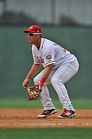 First baseman Mitchell Gunsolus (22) of the Greenville Drive in a game against the Lakewood BlueClaws on Sunday, June 26, 2016, at Fluor Field at the West End in Greenville, South Carolina. Greenville won, 2-1. (Tom Priddy/Four Seam Images)