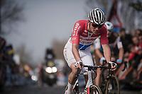 Mathieu Van Der Poel (NED/Correndon-Circus) returning to the main group up the Oude Kwaremont after an earlier crash <br /> <br /> 103rd Ronde van Vlaanderen 2019<br /> One day race from Antwerp to Oudenaarde (BEL/270km)<br /> <br /> ©kramon