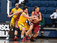 Mikayla Lyles of California tries to steal the ball during the game against Washington State at Haas Pavilion in Berkeley, California on February 27th, 2014.   California defeated Washington State, 75-68.