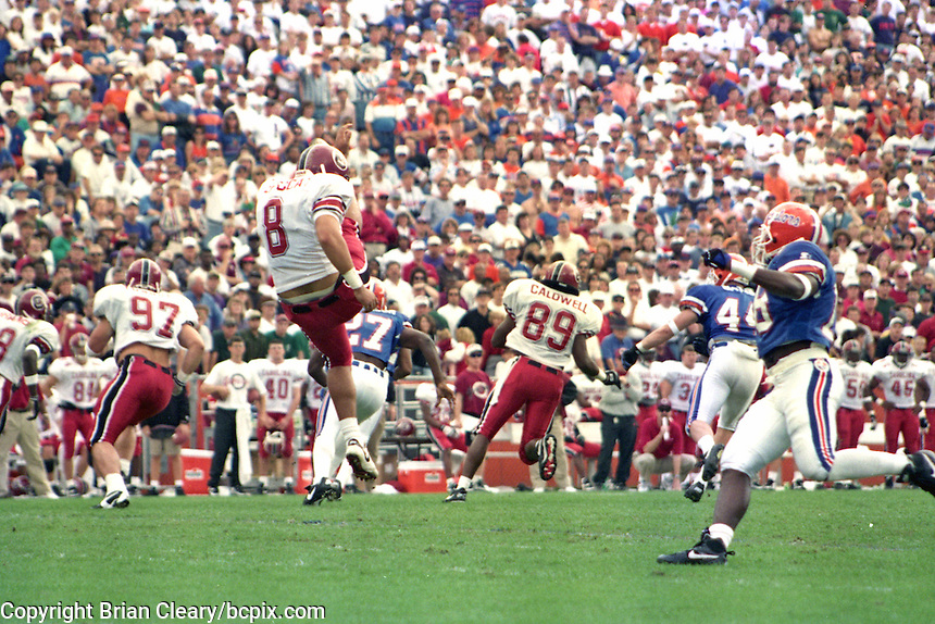 Punt, University of Florida Gators defeat the University of South Carolina Gamecocks 48-17 at Ben Hill Griffin Stadium, Florida Field, Gainseville, Florida, November 12, 1994 . (Photo by Brian Cleary/www.bcpix.com)