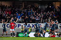 Blues players and fans celebrate at the final whistle during the 2017 DHL Lions Series rugby union match between the Blues and British & Irish Lions at Eden Park in Auckland, New Zealand on Wednesday, 7 June 2017. Photo: Dave Lintott / lintottphoto.co.nz