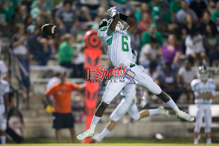 Brandon Dry (6) of the A.L. Brown Wonders can't make the catch during first half action against the Northwest Cabarrus Trojans at Trojan Stadium September 4, 2015, in Concord, North Carolina.  The Wonders defeated the Trojans 56-7.  (Brian Westerholt/Sports On Film)