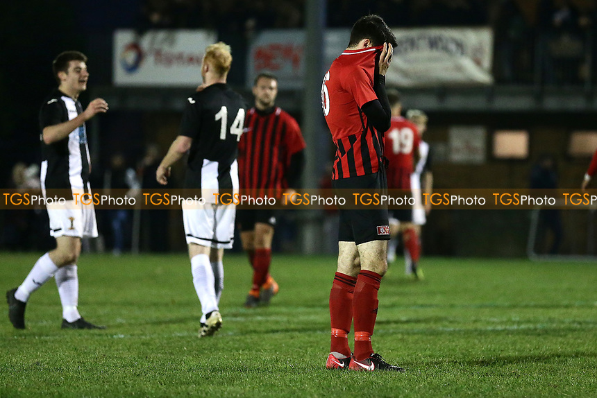 Disappointment for May & Baker at the final whistle during May & Baker vs Swaffham Town, Buildbase FA Vase Football at Gale Street on 4th November 2018