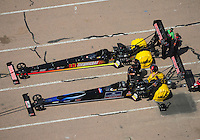 Apr. 28, 2012; Baytown, TX, USA: Aerial view of NHRA top fuel dragster drivers Doug Kalitta (top) and teammate David Grubnic during qualifying for the Spring Nationals at Royal Purple Raceway. Mandatory Credit: Mark J. Rebilas-