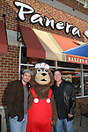 "Guiding Light's Daniel Cosgrove ""Billy Lewis"" and Frank Dicopoulos ""Frank Cooper"" poses with Teddy of Tender Care (one of the sponsors) as Daniel and Frank donated their time for Young Women's Breast Cancer Awareness Foundation by going to Pittsburgh, PA on October 7, 2008 and went Pink with Panera. They visited three of 27 Panera Bread locations during the day where 100% of sales from their Pink Ribbon bagels went to the foundation and a portion of those sales all during the month of October. For more information go to www.breastcancerbenefit.org. The day started out with Star 100.7 and the hosts Kate and JR interviewed Frank Dicopoulos. The two actors then went to the CBS studio in Pittsburgh in the morning. The day was a great hit. (Photo by Sue Coflin/Max Photos)"