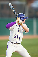 Chris Clare (9) of the High Point Panthers at bat against the Coastal Carolina Chanticleers at Willard Stadium on March 15, 2014 in High Point, North Carolina.  The Panthers defeated the Chanticleers 11-8 in game two of a double-header.  (Brian Westerholt/Four Seam Images)