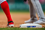 3 April 2017: A runner takes a lead off first base during play between the Washington Nationals and the Miami Marlins on Opening Day at Nationals Park in Washington, DC. The Nationals defeated the Marlins 4-2 to open the 2017 MLB Season. Mandatory Credit: Ed Wolfstein Photo *** RAW (NEF) Image File Available ***