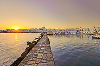 The sunrise at the port of Naousa in Paros island, Greece