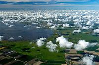 4415/Speicherkoog: EUROPA, DEUTSCHLAND, SCHLESWIG-HOLSTEIN, (EUROPE, GERMANY), 18.05.2004: Ein Speicherkoog ist ein Koog, der das durch Entwaesserung der Marsch gesammelte Wasser speichern kann. Dies ist insbesondere wichtig bei Sturmfluten, da in diesem Fall das Wasser nicht in die offene See abfließen kann und sich bei bestimmten geographischen Begebenheiten durch das im Inland anlaufenden Ueberschwemmungen im Binnenland bilden koennen...Um diesen Zweck erfuellen zu koennen, darf ein Speicherkoog nicht dicht besiedelt sein und muss über große Freifläaechen verfügen. Ein relativ bekanntes Beispiel ist der Dithmarscher Speicherkoog an der Meldorfer Bucht zwischen Meldorf, Epenwoehrden und Warwerort, der zum größten Teil aus zwei Naturschutzgebieten besteht, Landgewinnung, Schutz vor Hochwasser,Sturmfllut, Deich, eindeichen,  Nordsee, Meldorfer Bucht, Kuestenlinie, Naturschutzgebiet, Wasser, Wasserbau, ueber den Wolken, Cumulus, von oben, land reclamation, protection from flood, Sturmfllut, dyke, in dykes, North Sea, Meldorfer bay, coastal line, protected area, water, hydraulic engineering, over the clouds, Cumulus, from above,..c o p y r i g h t : A U F W I N D - L U F T B I L D E R . de.G e r t r u d - B a e u m e r - S t i e g  1 0 2,  .2 1 0 3 5  H a m b u r g ,  G e r m a n y.P h o n e  + 4 9  (0) 1 7 1 - 6 8 6 6 0 6 9 .E m a i l      H w e i 1 @ a o l . c o m.w w w . a u f w i n d - l u f t b i l d e r . d e.K o n t o : P o s t b a n k    H a m b u r g .B l z : 2 0 0 1 0 0 2 0  .K o n t o : 5 8 3 6 5 7 2 0 9.C  o p y r i g h t   n u r   f u e r   j o u r n a l i s t i s c h  Z w e c k e, keine  P e r s o e n  l i c h ke i t s r e c h t e   v o r  h a n d e n,  V e r o e f f e n t l i c h u n g  n u r    m i t  H o n o r a  n a c h  MFM, N a m e n s n e n n u n g und B e l e g e x e m p l a r !...