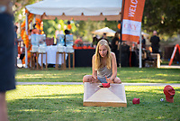 Paul Tomlinson '19 and Meike Buhaly '19 play some of the games. Occidental College celebrates Homecoming and Family Weekend on Saturday, Oct. 14, 2017 at Oswald's Homecoming Party in the Academic Quad, featuring games, activity booths, a pub and food.<br /> (Photo by Marc Campos, Occidental College Photographer)