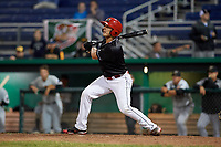 Batavia Muckdogs left fielder Michael Donadio (7) follows through on a swing during a game against the West Virginia Black Bears on June 18, 2018 at Dwyer Stadium in Batavia, New York.  Batavia defeated West Virginia 9-6.  (Mike Janes/Four Seam Images)