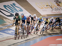 Olympic Omnium Champion Elia Viviani (ITA/Team Sky) riding his golden bike around the 'Kuipke' velodrome ahead of local favorite Kenny De Ketele (BEL/SportVlaanderen-Baloise)<br /> <br /> Ghent 6day<br /> Belgium 2017