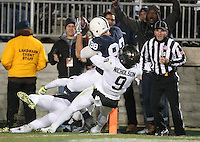 State College, PA - 11/26/2016:  TE Mike Gesicki catches a Trace McSorley touchdown pass. #7 Penn State defeated Michigan State by a score of 45-12 to secure the Big Ten conference East Division championship on Senior Day, Saturday, November 26, 2016, at Beaver Stadium in State College, PA.<br /> <br /> Photos by Joe Rokita / JoeRokita.com