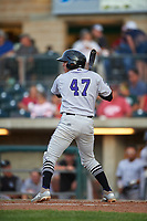 Grand Junction Rockies Ronaiker Palma (47) at bat during a Pioneer League game against the Grand Junction Rockies at Dehler Park on August 15, 2019 in Billings, Montana. Billings defeated Grand Junction 11-2. (Zachary Lucy/Four Seam Images)