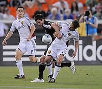 DC United midfielder Chris Pontius (13) battles with Real Salt Lake midfielder Ned Grabavoy (20).   DC United tied Real Salt Lake 0-0 at  RFK Stadium, Saturday May 23, 2009.