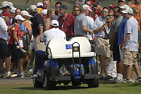 European Team Captain Nick Faldo drives down the 1st fairway during the Singles on the Final Day of the Ryder Cup at Valhalla Golf Club, Louisville, Kentucky, USA, 21st September 2008 (Photo by Eoin Clarke/GOLFFILE)