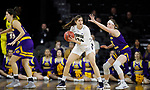 SIOUX FALLS, SD - MARCH 8: Montserrat Brotons #24 of the Oral Roberts Golden Eagles pivots to look for an open teammate against Evan Zars #54 of the Western Illinois Leathernecks at the 2020 Summit League Basketball Championship in Sioux Falls, SD. (Photo by Richard Carlson/Inertia)