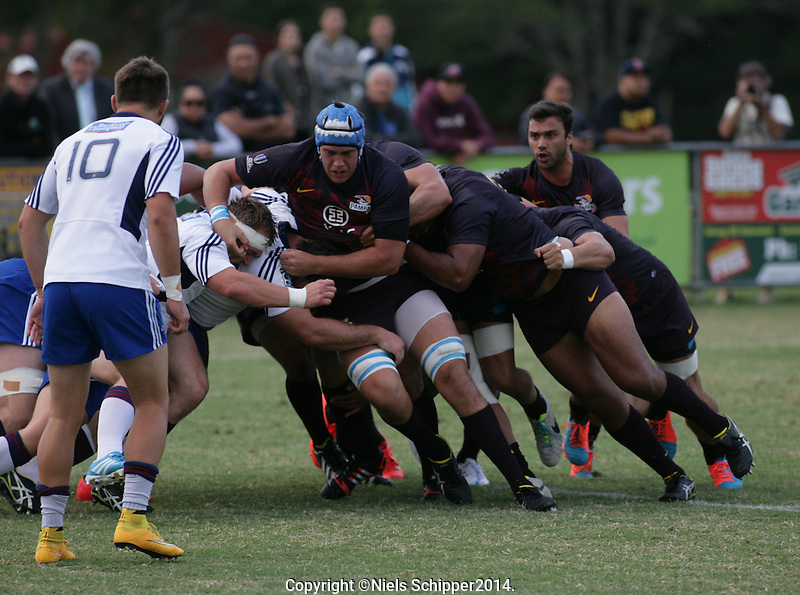 Action from the international touring match between the Blues A and Pampas XV (Argentina) at Pakuranga Rugby Club, Auckland, New Zealand on Friday, 6 March 2015. Photo: Niels Schipper / lintottphoto.co.nz