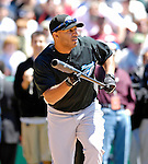 21 May 2007: Toronto Blue Jays outfielder Vernon Wells jokingly bunts in the pre-game Home Run Derby at Doubleday Field prior to Baseball's Annual Hall of Fame Game in Cooperstown, NY. Wells hit 13 homers in 3 rounds of competition to win the event...Mandatory Credit: Ed Wolfstein Photo