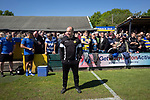 Home manager Paul Carden taking his place in the home technical area before Warrington Town played King's Lynn Town in the Northern Premier League premier division super play-off final tie at Cantilever Park, Warrington. The one-off match was between the winners of play-off matches in the Northern Premier League and the Southern League Premier Division Central to determine who would be promoted to the National League North. The visitors from Norfolk won 3-2 after extra-time, watched by a near-capacity crowd of 2,200.